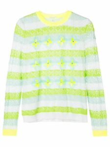 Delpozo striped floral sweater - Green