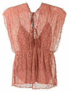 Alcaçuz anglaise broderie Metal blouse - PINK