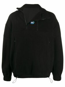 Ader Error zipped neck fleece sweatshirt - Black