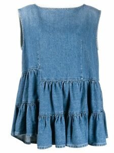 Mm6 Maison Margiela ruffled hem tank top - Blue