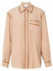 Burberry Crystal Detail Silk Oversized Shirt - NEUTRALS