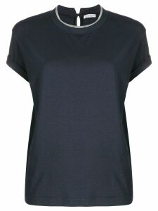 Brunello Cucinelli brass-embellished crew-neck T-shirt - Blue
