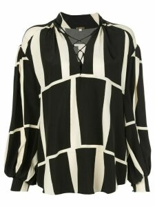 Johanna Ortiz Rhapsody block pattern shirt - Black
