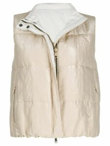 Brunello Cucinelli metallized reversible gilet - NEUTRALS