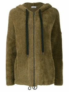 Brunello Cucinelli textured zipped front hoodie - Green