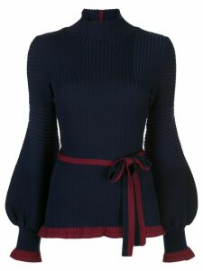 Roksanda tie-fastening ribbed-knit jumper - Blue