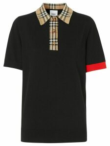 Burberry Vintage check trim polo shirt - Black