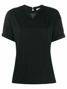 Brunello Cucinelli textured panel folded sleeve T-shirt - Black