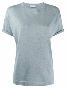 Brunello Cucinelli metallized knitted T-shirt - Blue