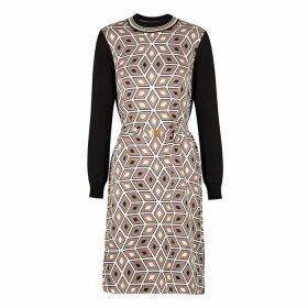 Tory Burch Black Printed Silk And Stretch-knit Dress