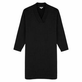 Kenzo Black Logo-embellished Cotton Sweatshirt Dress