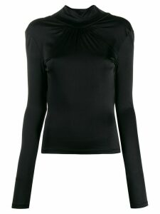 Paco Rabanne ruched-detail fitted blouse - Black