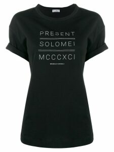 Brunello Cucinelli Present Solomei print roll sleeve T-shirt - Black