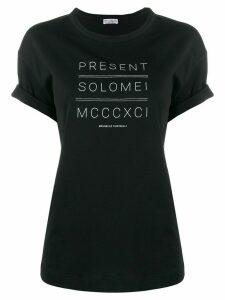 Brunello Cucinelli Present Solomei print roll sleeve T-shirt - Black