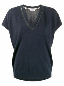 Brunello Cucinelli brass-embellished knitted top - Blue