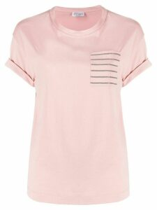 Brunello Cucinelli patch-pocket beaded T-shirt - PINK