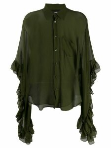 Dsquared2 ruffled sleeve sheer blouse - Green