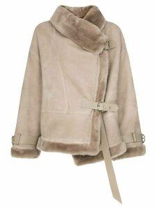 Shoreditch Ski Club Darling shearling and suede aviator jacket - Grey