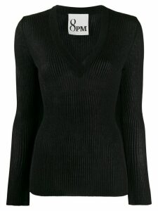 8pm long-sleeve fitted top - Black