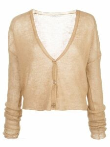 Mes Demoiselles Shym ribbed-knit cropped cardigan - NEUTRALS