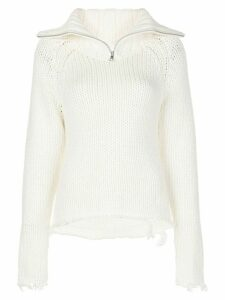 RtA Dom distressed half-zip jumper - White