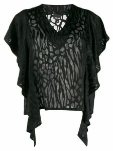 Just Cavalli ruffled sleeve T-shirt - Black