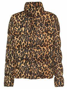 Miu Miu leopard-print padded jacket - Brown