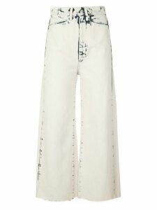 Proenza Schouler White Label Bleached Wide Leg Crop Jeans