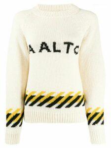 Aalto logo crew-neck jumper - NEUTRALS