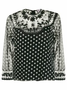 Red Valentino floral detail sheer blouse - Black