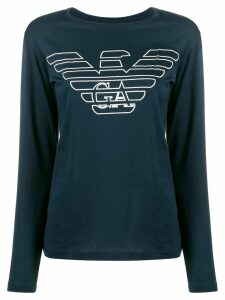 Emporio Armani logo long-sleeved top - Blue