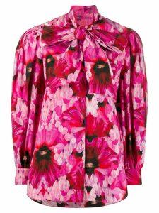 Alexander McQueen ruffled floral blouse - PINK