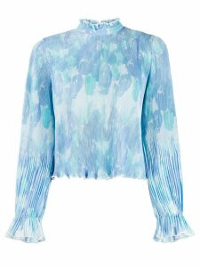GANNI pleated floral blouse - Blue