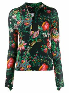 Paco Rabanne floral print fitted top - Black