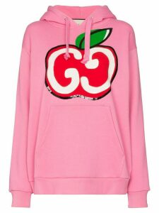 Gucci GG Apple logo sequinned hoodie - PINK