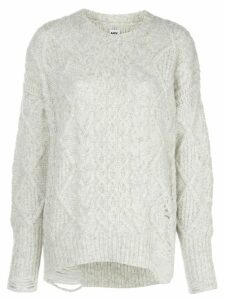 NSF Anabell distressed cable-knit jumper - Grey
