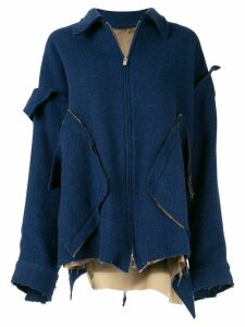 sulvam deconstructed oversized jacket - Blue