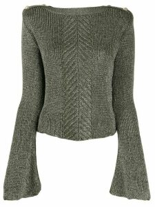 Balmain herringbone panel jumper - Green