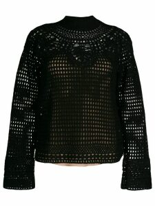 Alberta Ferretti whitework embroidery loose-fit jumper - Black