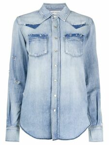 Saint Laurent western style buttoned shirt - Blue