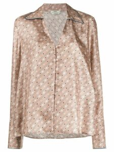 Fendi striped Karligraphy V-neck blouse - NEUTRALS