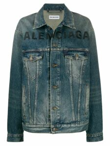 Balenciaga embroidered logo denim jacket - Blue