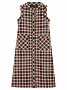 Gucci check print sleeveless jacket - Black