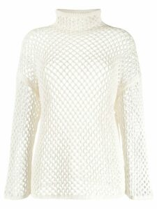 Agnona mesh construction knitted top - White