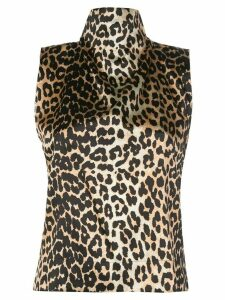 GANNI leopard print halterneck top - Brown