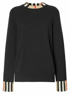 Burberry Icon Stripe trim jumper - Black