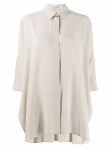 Agnona relaxed 3/4 sleeve blouse - NEUTRALS