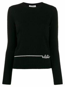 Valentino logo intarsia crew neck jumper - Black