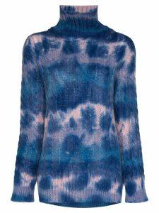 Moncler Grenoble mottled-effect cable knit turtleneck - Blue