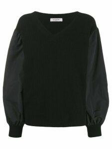 Valentino bi-material V-neck jumper - Black